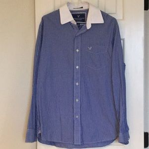 American Eagle blue and white striped button down